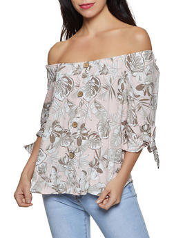 Floral Tie Sleeve Off the Shoulder Top - 8307056120012