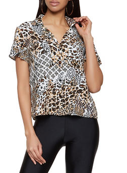 Mixed Print Short Sleeve Shirt - 8307056124233