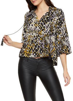 Snake Print Bell Sleeve Top - 8307056124352