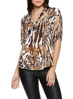 Printed Tabbed Sleeve Top - 8307056124353
