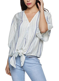 Lurex Striped Tie Front Top - 8307063508210