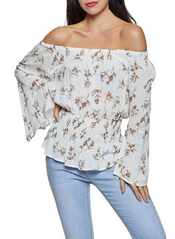 Floral Off the Shoulder Bell Sleeve Top - 8307064465490