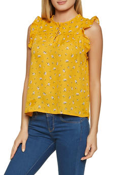 Half Button Sleeveless Floral Blouse - 8307069390154