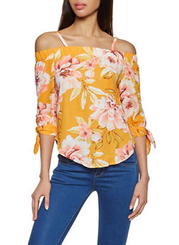 Floral Tie Sleeve Cold Shoulder Top - 8307075845008