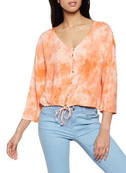 Tie Dye Drawstring Waist Shirt - 8307076020019