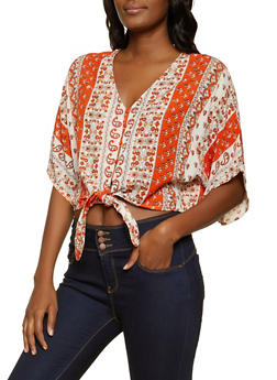 Printed Button Tie Front Top - 8307076020380