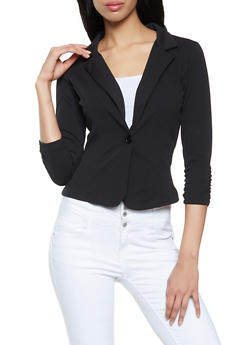 Textured Knit One Button Blazer - 8323020620379