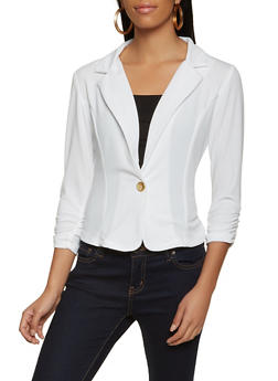 One Button Ruched Sleeve Blazer - 8323020625503