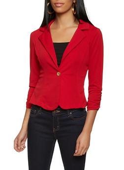 One Button Ruched Sleeve Blazer - 8323020625503