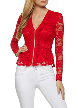 Lace Zip Peplum Top - 8323062703067