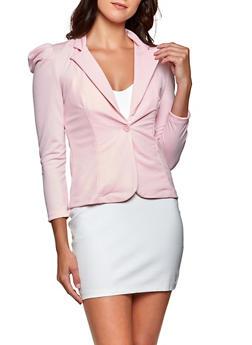 Pleated Puff Shoulder One Button Blazer - 8323062705412