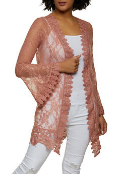 Lace Bell Sleeve Duster - 8324075177012