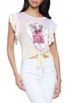 Studded Patch Tie Dye Top - 8327043393946