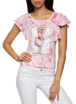 Sequin Patch Tie Dye Top - 8327043394090