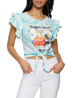 Patch Tie Dye Flutter Sleeve Top - 8327043394093