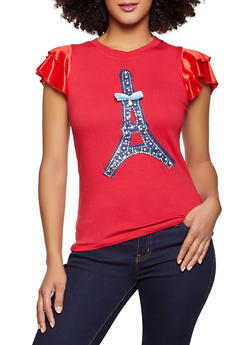 Studded Eiffel Tower Patch Top - 8327062703075