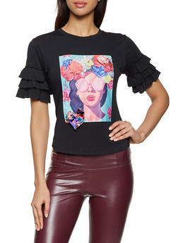 Flower Lady Patch Tee - 8327064466231