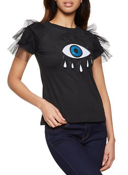 Eye Sequin Patch Tiered Sleeve Tee - 8327064466531