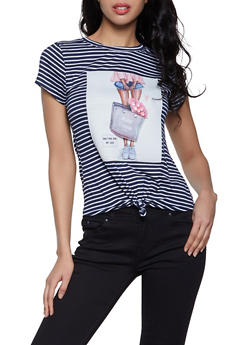 3D Flower Graphic Patch Striped Tee - 8327064466661