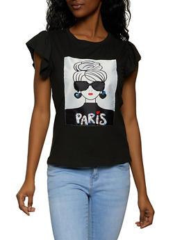 Paris Sequin Beaded Patch Top - 8327064466721