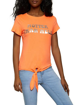 Hotter Than Hell Tie Front Tee - 8327064466741