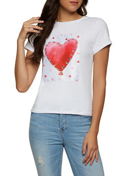 Soft Knit Studded Heart Patch Tee - 8327064466901