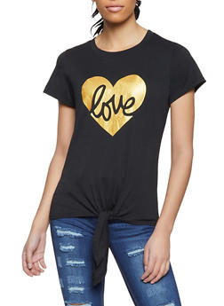 Love Heart Foil Graphic Tee - 8327064466921