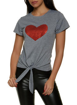 Glitter Heart Tie Front Tee - 8327064466931