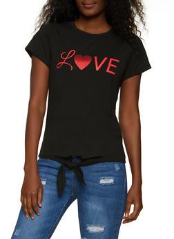 Love Tie Front Tee - 8327064466941