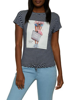 3D Graphic Patch Striped Tee - 8327064467660