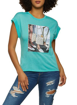 Faux Pearl Patch Tee - 8327075229952