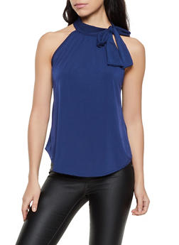 Tie Neck Sleeveless Blouse - 8328020622695