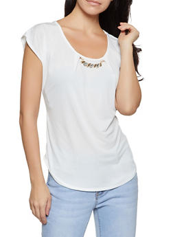 Metallic Jeweled Neckline Top - 8328020625632