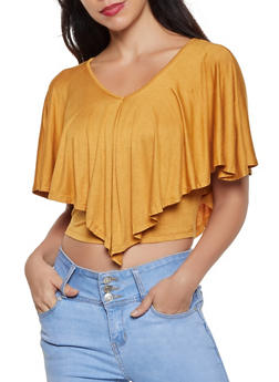V Neck Overlay Crop Top - 8328042010723