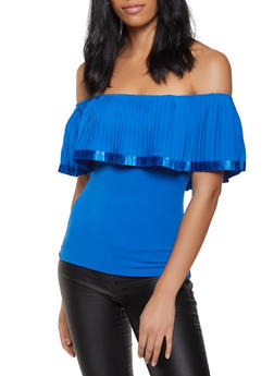 Pleated Overlay Off the Shoulder Top - 8328062702403