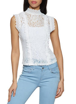 Mock Neck Crochet Trim Lace Top - 8328062702781