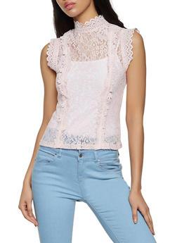 Mock Neck Crochet Trim Lace Top - 8328062702781