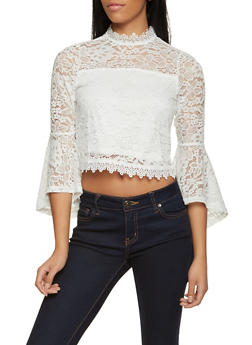 Lace Bell Sleeve Crop Top - 8328062702782