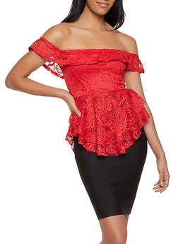 Off the Shoulder Ruffle Lace Top - 8328062703195