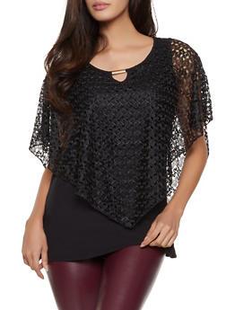 Crochet Overlay Keyhole Top - 8328062703296