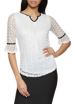 Faux Pearl Detail Lace Top - 8328062704296