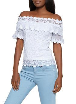 Flower Crochet Off the Shoulder Top - 8328062704502