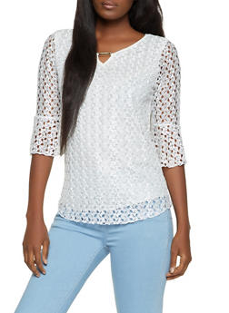 Lace Bell Sleeve Keyhole Top - 8328062705296