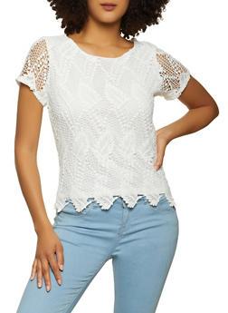 Leaf Pattern Crochet Top - 8328064460104