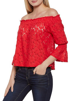 Crochet Off the Shoulder Top - 8328064465381