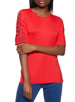 Faux Pearl Crochet Sleeve Tee - 8328064465931