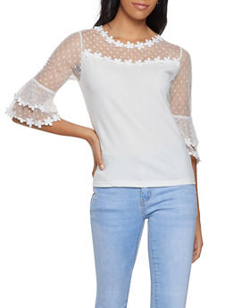 Polka Dot Lace Bell Sleeve Top - 8328064465941