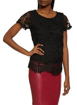 Crochet Short Sleeve Top - 8328064467300