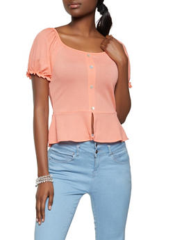Puff Sleeve Smocked Back Top - 8328075174716