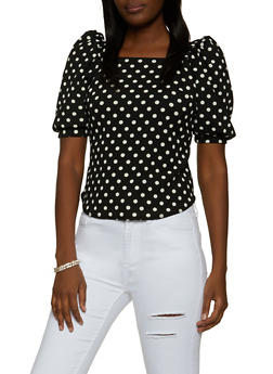 Bubble Sleeve Polka Dot Top - 8329020620372